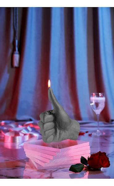 Świeca Candle Hand OK Grey Matt