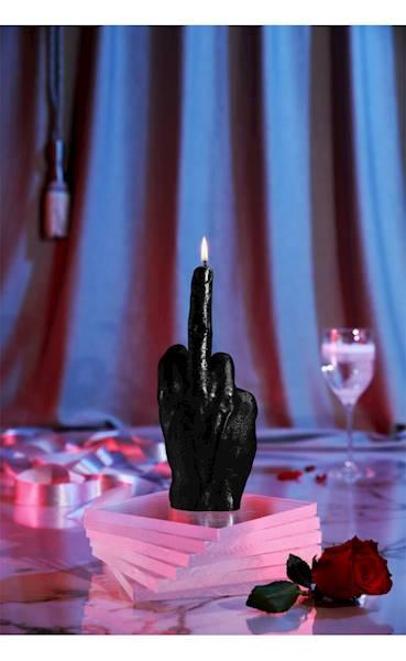 Świeca Candle Hand FCK Black Metallic