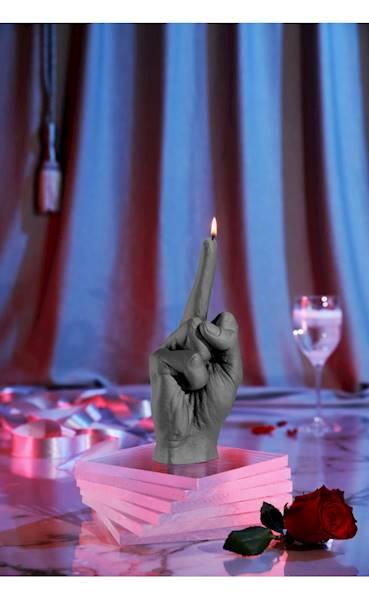 Świeca Candle Hand FCK Grey Matt