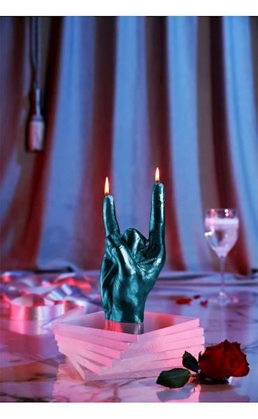 Świeca Candle Hand RCK Blue Metallic