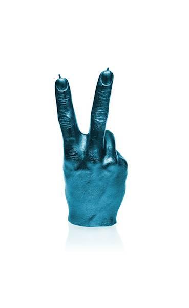 Świeca Candle Hand PEACE Blue Metallic