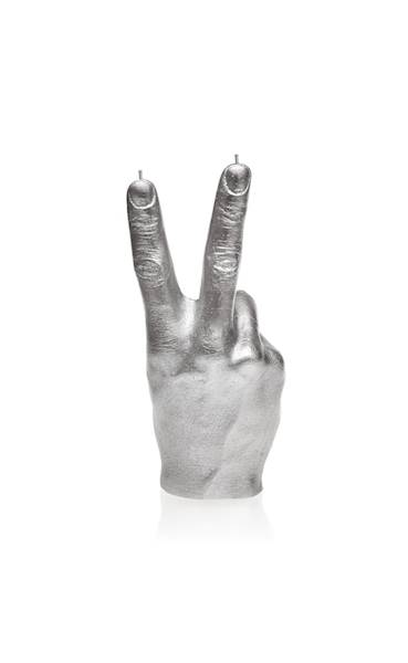 Świeca Candle Hand PEACE Silver