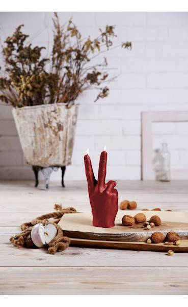 Świeca Candle Hand PEACE Red