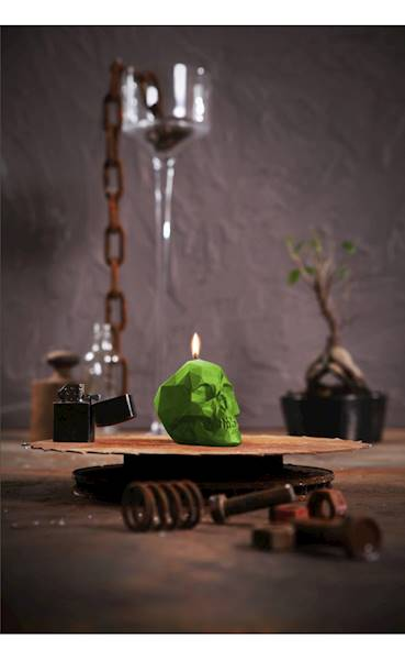 Świeca Candle Skull Small Lime