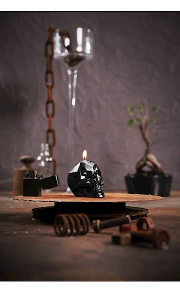 Świeca Candle Skull Small Black Metallic