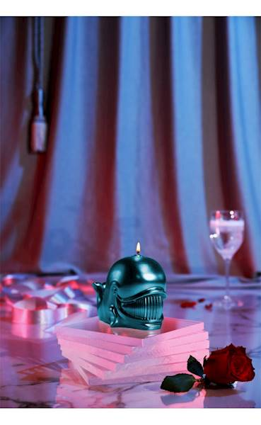 Świeca Candle Funny Whale Blue Metallic