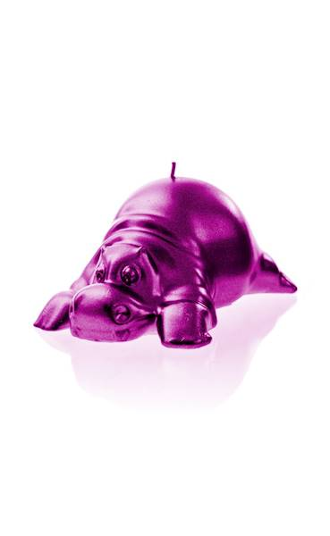 Świeca Candle Funny Hippo Pink Metallic