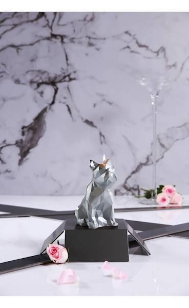 Świeca Candle Bulldog Low Poly Silver