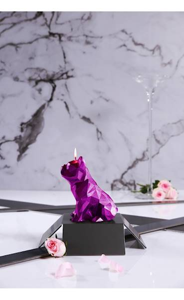 Świeca Candle Bulldog Low Poly Pink Metallic