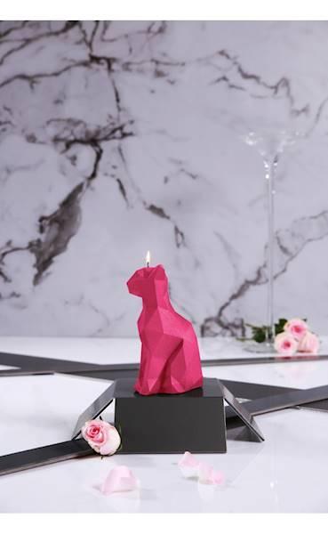 Świeca Candle Cat Low Poly Dark Pink