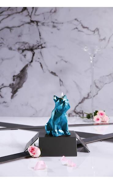 Świeca Candle Bulldog Low Poly Blue Metallic