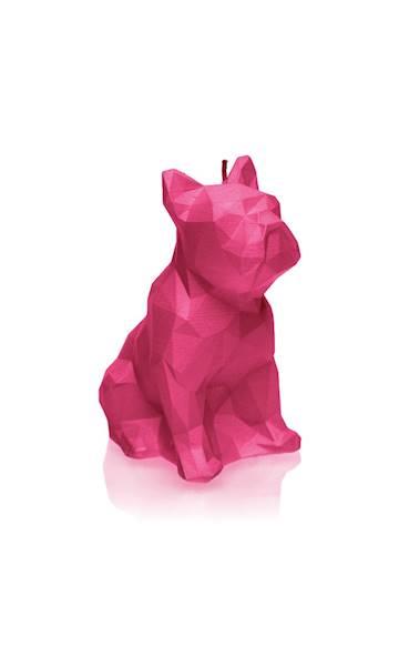 Świeca Candle Bulldog Low Poly Dark Pink