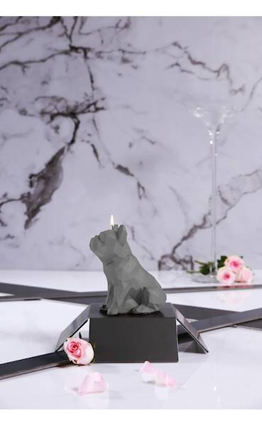Świeca Candle Bulldog Low Poly Grey Matt