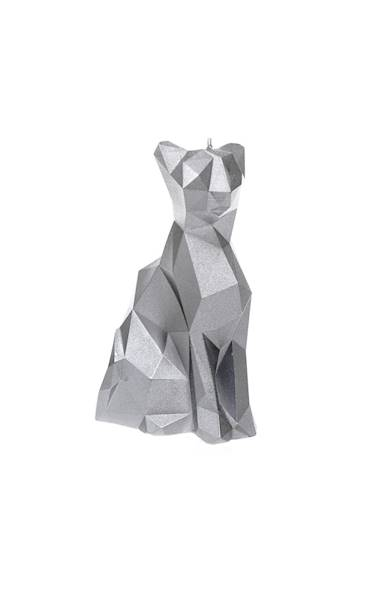 Świeca Candle Cat Low Poly Silver