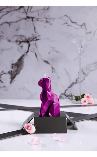 Świeca Candle Cat Low Poly Pink Metallic