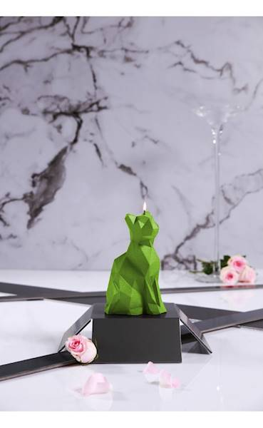 Świeca Candle Cat Low Poly Lime