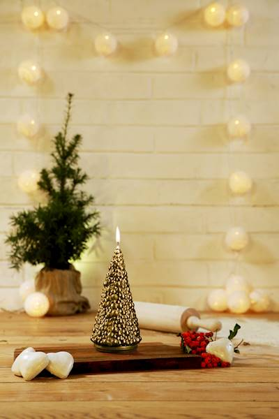 Świeca Candle Christmas Tree Classic Gold