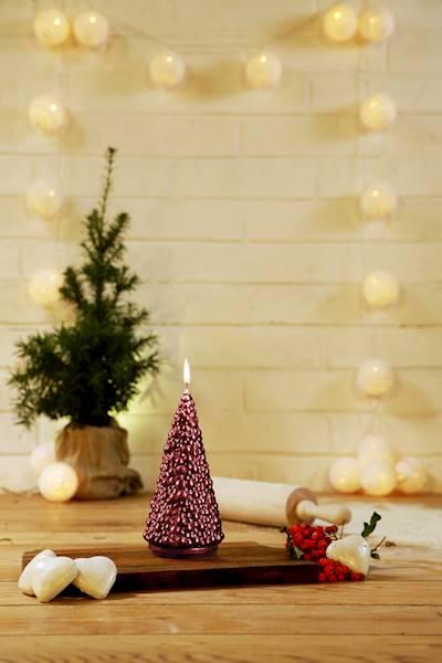 Świeca Candle Christmas Tree Red Metallic