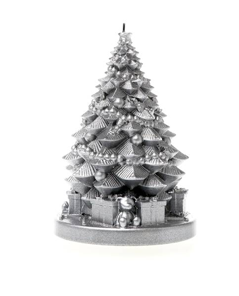 Świeca Candle Christmas Tree With Gifts Silver