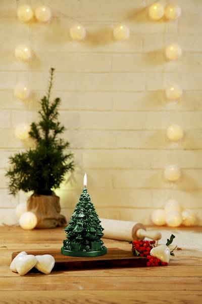 Świeca Candle Christmas Tree With Gifts Green Meta