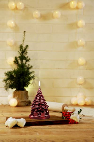 Świeca Candle Christmas Tree With Gifts Red Metall