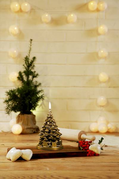 Świeca Candle Christmas Tree With Gifts Class Gold