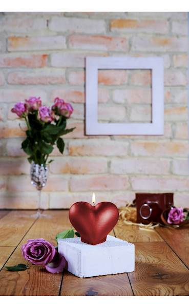 Świeca Candle Heart Smooth Red