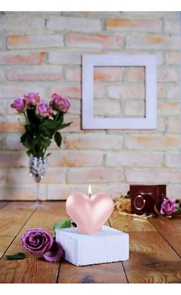 Świeca Candle Heart Smooth Light Pink