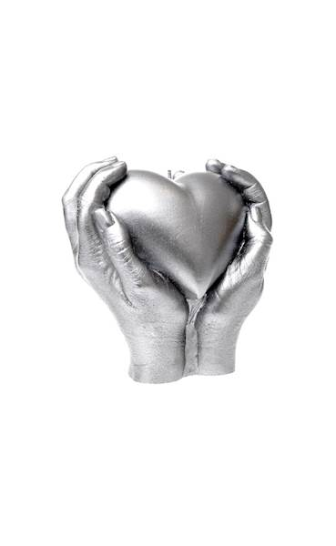 Świeca Candle Heart In Hands Silver