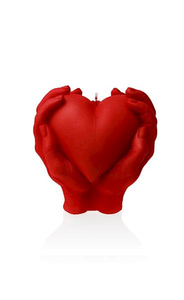 Świeca Candle Heart In Hands Red