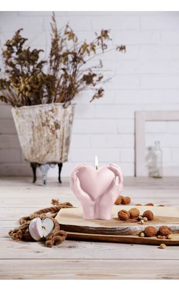 Świeca Candle Heart In Hands Light Pink