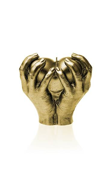 Świeca Candle Heart In Hands Classic Gold