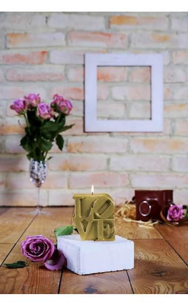 Świeca Candle Love Sign Classic Gold