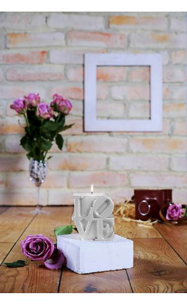 Świeca Candle Love Sign Silver