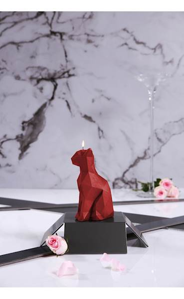 Świeca Candle Cat Low Poly Red