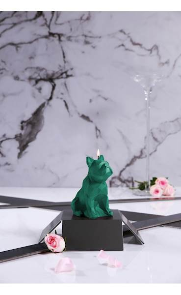 Świeca Candle Bulldog Low Poly Turquoise