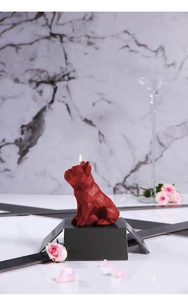 Świeca Candle Bulldog Low Poly Red