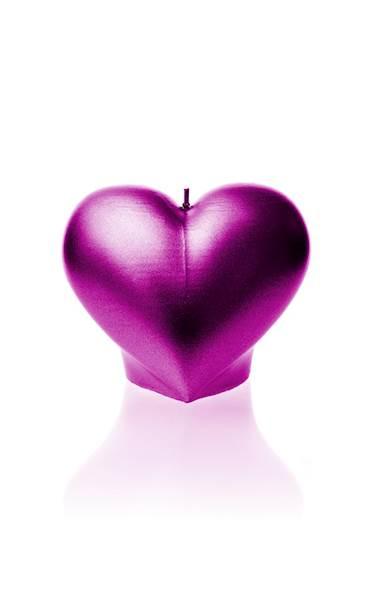 Świeca Candle Heart Smooth Pink Metallic