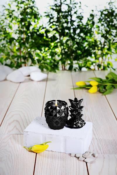 Świeca Candle Concrete Pineapple Black Metallic G