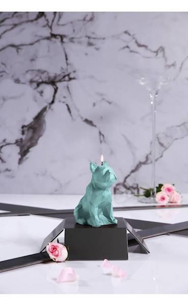 Świeca Candle Bulldog Low Poly Mint