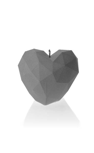 Świeca Candle Heart Low-Poly Grey Matt
