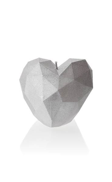Świeca Candle Heart Low-Poly Silver