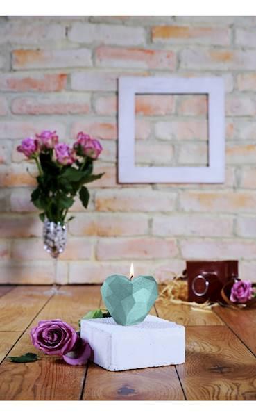 Świeca Candle Heart Low-Poly Mint