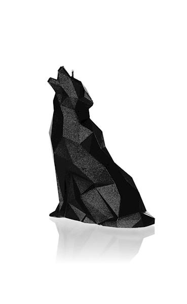 Świeca Candle Wolf Low Poly Black Metallic