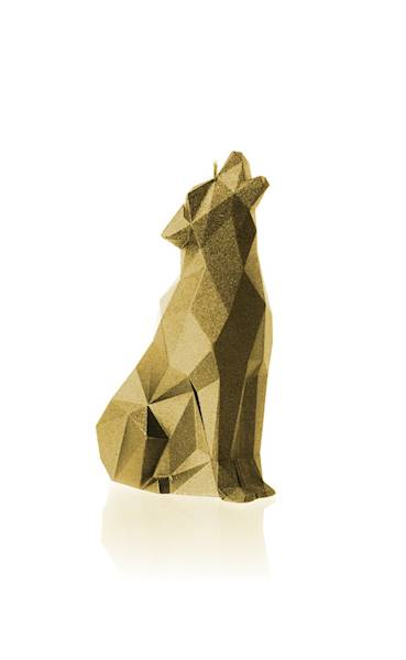 Świeca Candle Wolf Low Poly Classic Gold