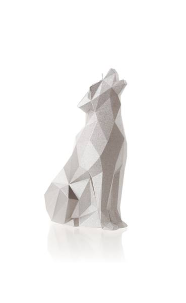 Świeca Candle Wolf Low Poly Silver