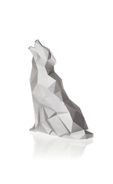 Świeca Candle Wolf Low Poly Silver