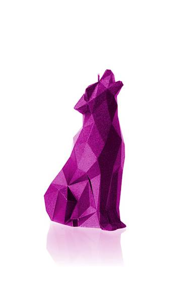 Świeca Candle Wolf Low Poly Pink Metallic