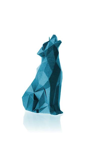 Świeca Candle Wolf Low Poly Blue Metallic