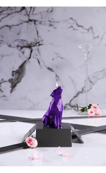 Świeca Candle Wolf Low Poly Violet Metallic